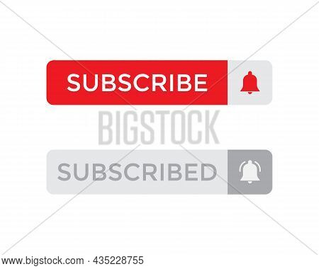 Subscribe Button and Subscribed Icon Vector for Streaming Channel Subscription