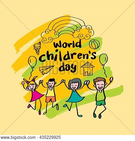 Happy Children's Day. Greeting Card Concept. Vector Illustration.