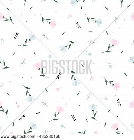 Seamless Texture Pattern Small And Large Flower Background And Small Dragonfly. Motifs Scattered Ran