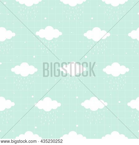 Seamless Pattern Of Patel's Sky And White Cloud With Raindrop And Square Grid As Wallpaper Modern De