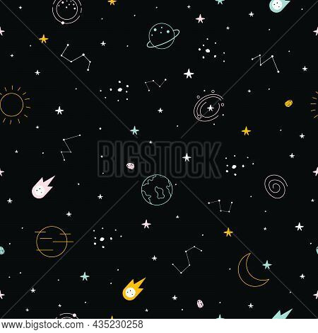 Seamless Pattern The Night Sky With Stars And Constellations Scattered Design Concepts Used For Publ