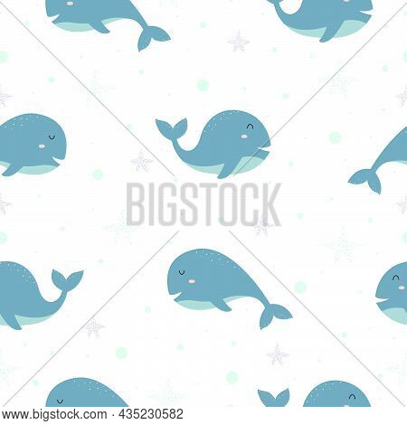 Blue Whale Cute Cartoon Character With Marine Life Seamless Pattern Random Arrangement The Design Is