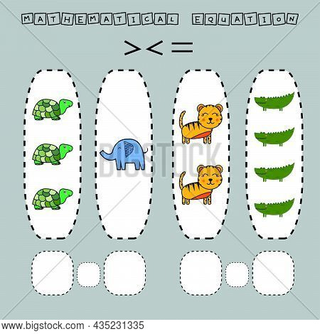 which Is Greater, Less Or Equal Game With Funny Turtles, Elephants, Tigers, Crocodiles. Worksheet