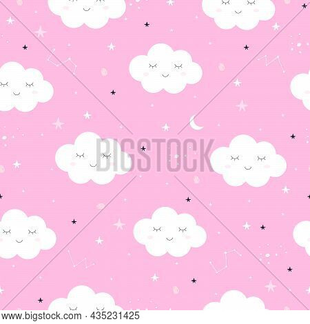 Seamless Pattern Of The Pink Sky And White Cloud That Is Cute And The Star And The Crescent Moon Mod