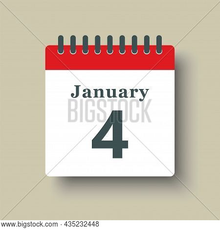 Icon Day Date 4 January, Template Calendar Page