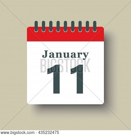 Icon Day Date 11 January, Template Calendar Page