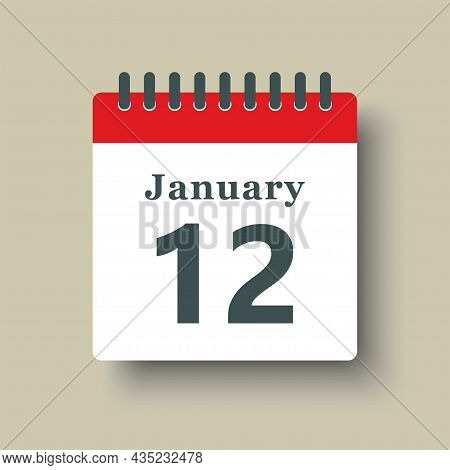 Icon Day Date 12 January, Template Calendar Page