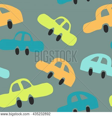 Toy Cars Seamless Pattern Hand Drawn Doodle. Vector, Minimalism. Cute Baby Print For Textiles, Wallp