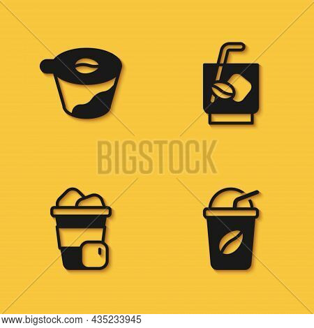 Set Pour Over Coffee Maker, Iced, And Espresso Tonic Icon With Long Shadow. Vector