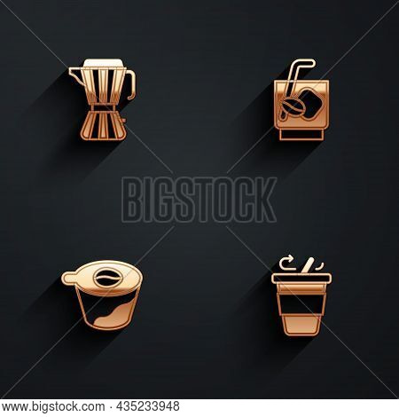 Set Coffee Maker Moca Pot, Espresso Tonic Coffee, Pour Over And Cup Go Icon With Long Shadow. Vector