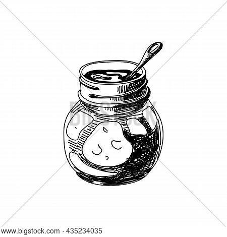 Jam Jar Hand Drawn Black And White Vector Illustration. Retro Glass Jar Sketch. Traditional Breakfas