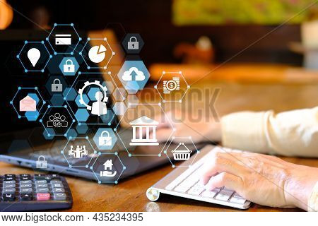 Businessman Using Laptop Computer With Online Banking And Payment, Digital Marketing. Finance And Ba