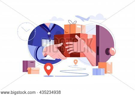 Delivery Courier Give Package To Owner Vector Illustration. Fast Delivery To Client Home Flat Style.
