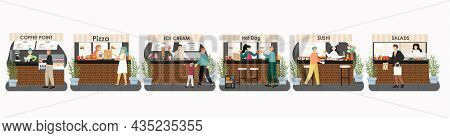 Market Place Mall Food Stall, Kiosk Set, Vector Isolated Illustration. People Buying Coffee, Fast Fo
