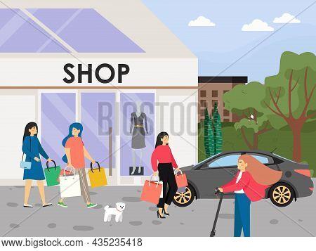 Happy Women Shopping, Flat Vector Illustration. Shop Building. Beautiful Ladies Carrying Shopping Ba