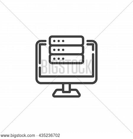 Computer Server Line Icon. Linear Style Sign For Mobile Concept And Web Design. Computer Monitor And