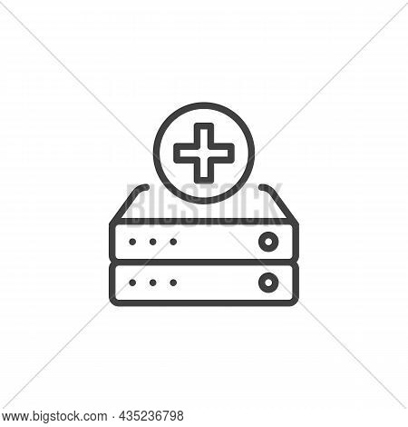 Add To Database Line Icon. Linear Style Sign For Mobile Concept And Web Design. Add Data Server Outl