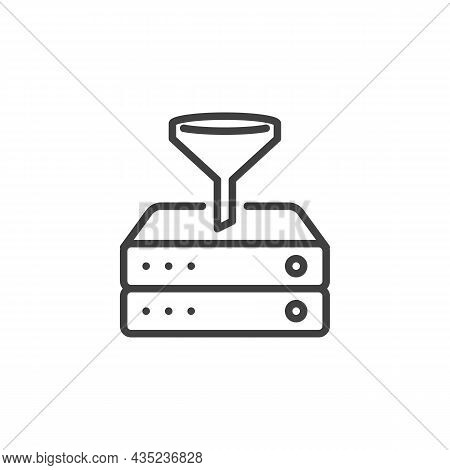 Data Filtering Line Icon. Linear Style Sign For Mobile Concept And Web Design. Filtering Database Se