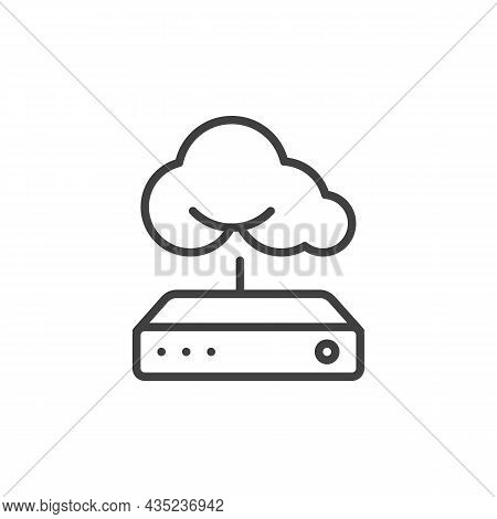 Internet Cloud Line Icon. Linear Style Sign For Mobile Concept And Web Design. Cloud Computing And R