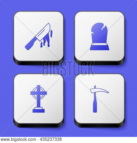 Set Bloody Knife, Tombstone With Rip Written, Cross And Scythe Icon. White Square Button. Vector