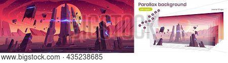 Parallax Background Alien Planet Surface Futuristic 2d Landscape. Cartoon Fantasy Game Scene With Gl