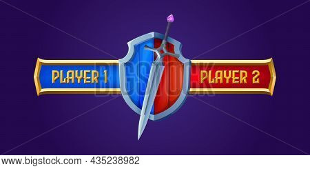 Battle Scoreboard For Rpg Game, Medieval Or Magic Sword And Wooden Shield Separated On Blue And Red