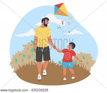 Happy Dad Walking With Son In Park, Flat Vector Illustration. Parent Child Relationship, Parenting.
