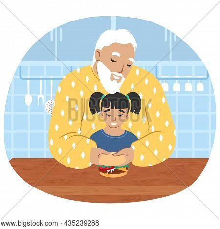 Grandfather Cooking With Granddaughter In Kitchen, Flat Vector Illustration. Grandparent Grandchild