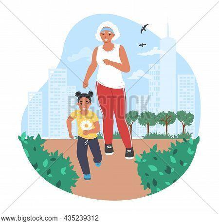 Grandmother Jogging With Granddaughter In Park, Vector Illustration. Grandparent Grandchild Relation