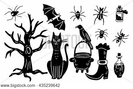 Hand Drawn Set With A Black Cat, Scary Tree, Crow On A Witch Cauldron And Spiders. Halloween Decorat