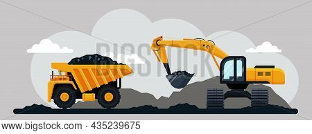Excavator And Dump Truck Working At Coal Mine, Flat Vector Illustration. Open Pit Mine Or Quarry, Ex
