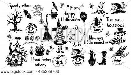 Hand Drawn Set With A Cute Ghost, Witch, Broom, Bat And Other Halloween Decorations. Vector Illustra