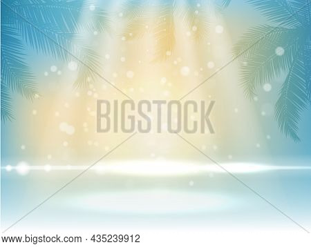Tropic Background With Palm Leaves, Natural Sunlight. Tropical Summer Beach Landscape Wallpaper, Vec