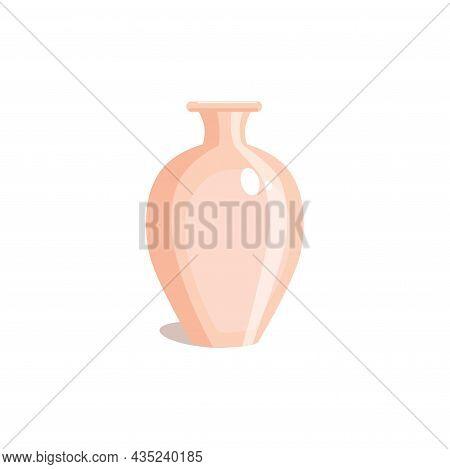 Decorative Vase, Flat Style. Clay Pitcher. Jug Isolated On White Background. Vector Illustration