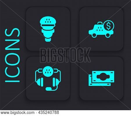Set Stacks Paper Money Cash, Taxi Driver, Taximeter Device And Call Telephone Service Icon. Black Sq