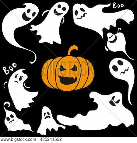 Scary Set Of Monochrome Ghosts. The Ghost Shadow Is Funny. Ghost Leaf For Halloween Character Design