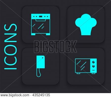 Set Microwave Oven, Oven, Chef Hat And Meat Chopper Icon. Black Square Button. Vector
