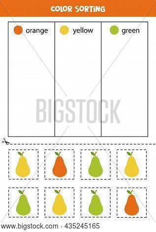 Color Sorting For Kids. Sort Cartoon Pears By Colors. Educational Worksheet.