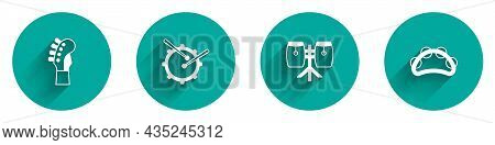 Set Guitar Neck, Drum With Drum Sticks, Conga Drums And Tambourine Icon With Long Shadow. Vector
