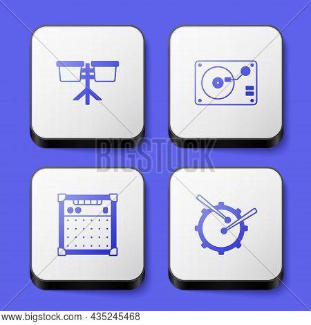 Set Bongo Drum, Vinyl Player With Vinyl Disk, Guitar Amplifier And Drum Sticks Icon. White Square Bu
