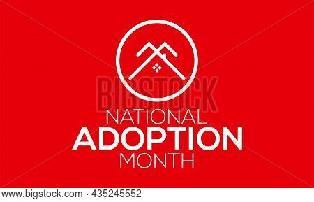 National Adoption Awareness Month Banner Design In White Background. Vector Template