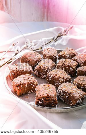 Oat Cookies, Oat Dates Energy, Selective Focus. Vegan Sweets. Homemade Bakery. Raw Vegan Healthy Des