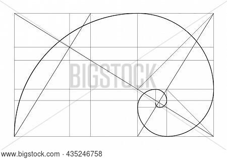 Vector Golden Relationship Template. Golden Spiral, Golden Ratio, Fibonacci Array, Fibonacci Number.