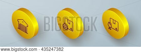Set Isometric Line Warehouse, Gear With Package Box And Package Fragile Content Icon. Vector