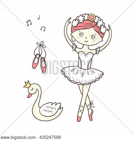 Little Cute Ballerina In Pointe Shoes And Swan With Crown. Isolated Vector Illustration In Doodle St