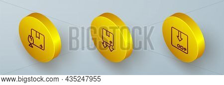 Set Isometric Line Package Box With Fragile Content, Cardboard Traffic Symbol And Carton Cardboard I