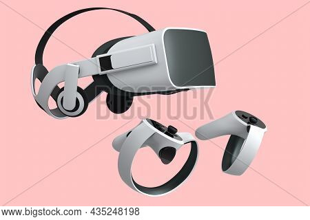 Virtual Reality Glasses And White Controllers For Online Gaming On Pink