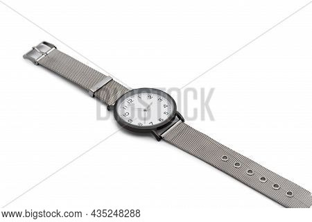 Wristwatch With A Metal Strap. Close-up. Isolated Over White Background.