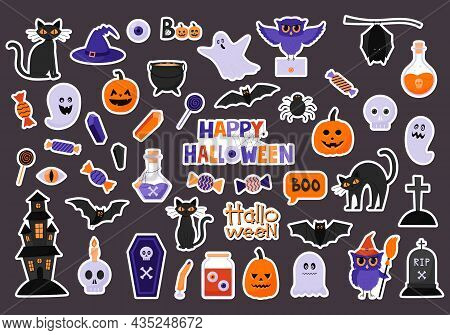 A Set Of Stickers For Celebrating Halloween. Sticker Pack With A White Border. Halloween Characters