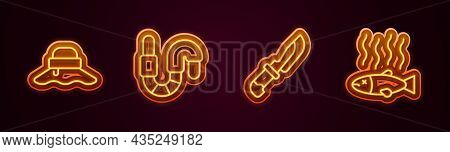 Set Line Fisherman Hat, Worm, Knife And Dead Fish. Glowing Neon Icon. Vector
